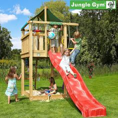 Play equipment by Jungle Gym - Jungle Lodge Backyard Jungle Gym, Backyard Playground, Backyard For Kids, Backyard Ideas, Playground Set, Wooden Climbing Frame, Climbing Frames, Kids Play Equipment, Gym Bar