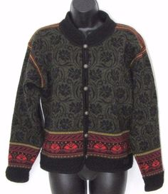 DALE OF NORWAY Cardigan Sweater M Nordic Lodge black red green floral casual #DaleOfNorway #Cardigan #Casual