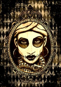 Marie Laveau portrait in sepia stretched canvas by ShayneoftheDead, $15.00
