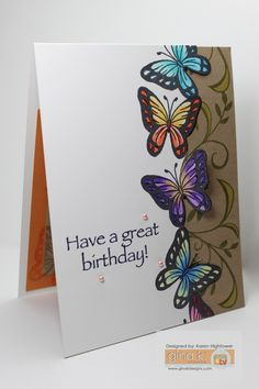 "This was designed with the following Gina K. Designs Products: Pure Luxury Card Stock, Stamp Set ""Butterfly & Vine"" by: Theresa Momber . Stamped with Premium Dye Inks - Black Onyx & Fresh Asparagus. Colred with Spectrum Noir Pencils. Made for Gina K. Designs By: Karen Hightower These items are available @  http://www.shop.ginakdesigns.com"