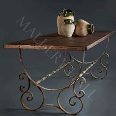 French Wrought Iron Base Rectangle Table