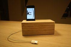 iPhone docking station with hidden storage inside.  Made of birch veneer.