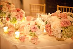 pinks, white, greens and gold accent