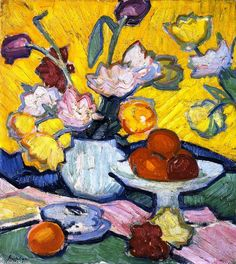 """Tulipes et Coupe"", huile sur toile de Samuel John Peploe (1871-1935, United Kingdom)"