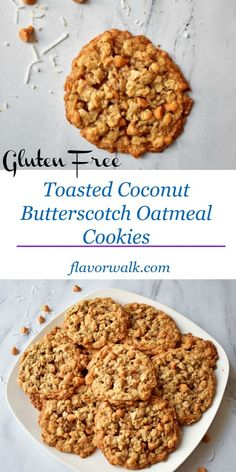 Toasted Coconut Butterscotch Oatmeal Cookies are sweet and chewy with a hint of coconut. This gluten free recipe is a new twist on an old classic. Gluten Free Cookie Recipes, Gluten Free Sweets, Gluten Free Baking, Baking Recipes, Dessert Recipes, Diet Recipes, Best Gluten Free Cookies, Celiac Recipes, Oats Recipes
