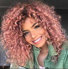 Curly pink hair, short curly hair, colored curly hair, frizzy h Curly Pink Hair, Pink Blonde Hair, Colored Curly Hair, Short Curly Hair, Pastel Hair, Curly Hair Styles, Natural Hair Styles, Frizzy Hair, Blorange Hair