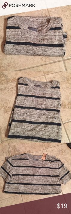 Young men's short sleeve t-shirt This shirt is new with tags still attached. Gray with navy blue stripes. American Eagle Outfitters Shirts Tees - Short Sleeve