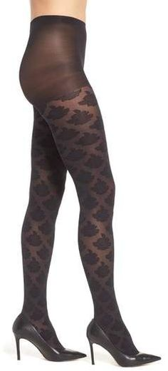 Hue Large Rose Control Top Tights: $8.98 - Slimming, semi-sheer tights patterned in large roses feature a high waist with supportive control-top technology. Shop at www.fashion-tights.net #tights #pantyhose #hosiery #nylons #legs