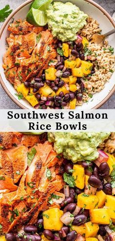 Southwest Salmon Rice Bowls are great for a weeknight dinner and meal prep! Brown rice topped with Southwest seasoned grilled salmon, mango black bean salsa and guacamole. Tons of flavor in these balanced and healthy bowls! #salmon #grilledsalmon #ricebowl #bowls #healthydinner #glutenfreerecipe #mangosalsa #guacamole #mexicanfood Best Fish Recipes, Veggie Recipes, Mexican Food Recipes, New Recipes, Amazing Recipes, Favorite Recipes, Fast Healthy Meals, Easy Dinner Recipes, Healthy Dinner Recipes