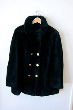 Perfect Fuzzy Black Faux Fur 60's Coat by asecretshop on Etsy, $78.00