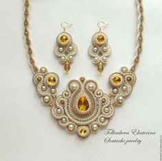 Купить Комплект сутажных украшений Версаль - золотой, белый, бежевый, шикарное украшение, колье на выпускной