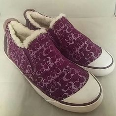 COACH Size 6.5 Dark Purple & Silver Shoes Item: Coach Dark Purple Slide on Sneakers Brand: Coach Size: 6.5 6.5B Color: Dark Purple, Silver Material: Lined in cream Shearling Condition: Excellent pre-loved Condition  *no trading but offers welcome* Coach Shoes Flats & Loafers