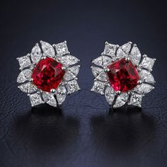 Alluring Handmade Real Diamond Ruby Earrings made up in 18 K Gold. The Diamond Weight is ct. The Diamond Color is G Color, Vs Clarity. The total Ruby Weight is 10 ct. Ruby Jewelry, Emerald Earrings, Diamond Pendant Necklace, Diamond Jewelry, Fine Jewelry, Jewellery Box, Jewellery Shops, Jewelry Stores, Diamond Earrings Tiffany