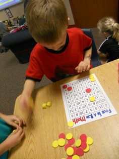 Four in a row math: Partners roll two dice, add & place a counter on the correct answer, attempting to get four in a row.  I love this as a share pair activity.