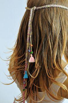 Boho Crochet Headband bohemian beaded Hippie tassel by selenayy