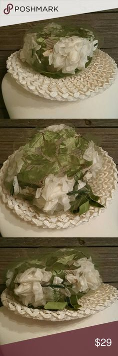 Linda Original Vintage Straw flower  hat Adorable!  Excellent vintage condition straw hat with velvet bow, leaves and flowers Stored in a hat box, worn once. Purchased from original owner A must for a vintage hat lover👒 Linda original Accessories Hats