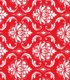 Quilter's Showcase Cotton Fabric-Damask Red & White