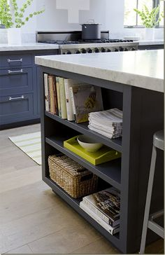 Bookshelf under kitchen island. Now this is a great idea! Someday I will have one of these...