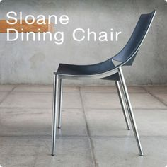 Modern Italian dining chair in steel and black leather.