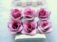 Roses from egg cartons