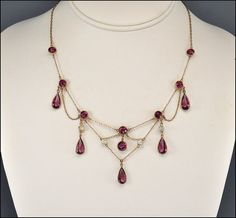 Antique Edwardian Festoon Necklace Amethyst Glass by boylerpf, $185.00