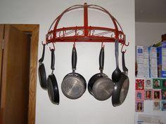 red wall hanging pot rack | pot rack