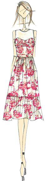 Designer Sketch by Cynthia Steffe By Suwha Hong - PANTONE Cayenne Spring 2014 Pantone Fashion Color Report #FCRS14 #pantone  @Cynthia Steffe