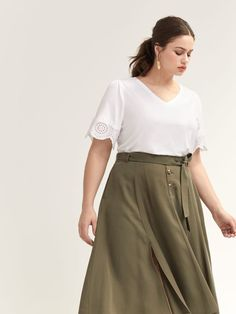 Shop online for T-Shirt with Short Flutter Sleeves & Embroidery. Find Sale-Tops, and more at AdditionElle Addition Elle, Plus Size T Shirts, Flutter Sleeve, Nice Tops, Casual Looks, Casual Wear, Sleeves, Clothes, Embroidery