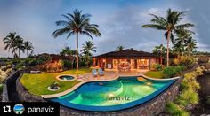 An elevated panorama of a beautiful luxury villa on the Big Island.  Big Island Real Estate Photographer.  PanaViz  Photo by @PanaViz