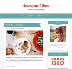 Retro WordPress Theme  American Diner  Genesis Child by PixelFrau, $34.99 American Diner, Wordpress Theme Design, Blog Design, Blog Tips, Retro, Image, Blogging, Template, Child
