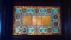 This leaded glass panel actually matches the mosaic floor! 1897 Pleasant Home, designed by George Maher. Queen Anne's Revenge: a very Pleasant Home