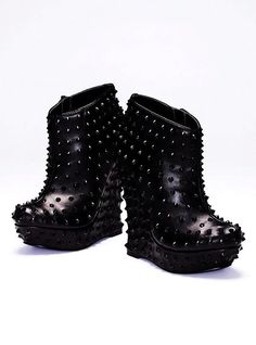 Black Spike Heels Boots Wedges #studded #ankle #boots www.loveitsomuch.com