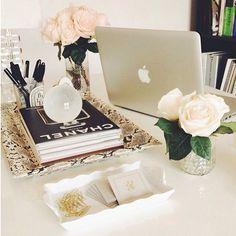 Fancy office decor: love the python desk tray + white roses.