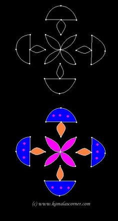 Kolangal: 5 - 10 Dots - 1 parallel dots (Neer Pulli) Kolam - Start with 7 dots in the center, leave one dot at both ends and stop at 1 by putting parallel dots at both sides. Join the dots as shown in the picture. Indian Rangoli Designs, Rangoli Border Designs, Small Rangoli Design, Rangoli Ideas, Rangoli Designs Images, Rangoli Designs With Dots, Rangoli With Dots, Beautiful Rangoli Designs, Simple Rangoli
