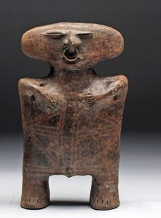 "Pre-Columbian, Ecuador, ca. 1000-1400CE. Known as the Caldas Complex ceramics, archaeologists call these sculptures ""slab-headed"" figurines."
