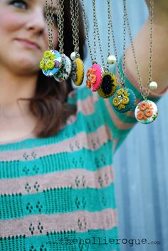 embroidered pendant necklaces SPRING collection @ The Hollie Rogue via etsy
