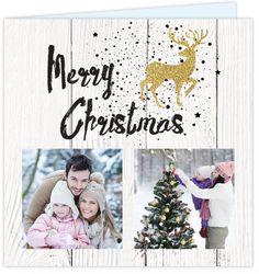 Hip foto collage kerstkaart met ruimte voor twee eigen foto's of andere leuke invulling op een wit hout design ondergrond! Met stoere zwarte spetters, goud look rendier en kerstboom - goud is geen echt folie!