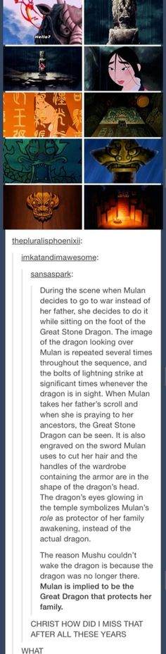 "Mulan and the Great Stone Dragon <<< Wha'd'ya mean ""and""? Mulan IS the Great Stone Dragon! Disney Pixar, Disney Facts, Disney And Dreamworks, Disney Love, Disney Magic, Walt Disney, Disney Stuff, Humor Disney, Disney Quotes"