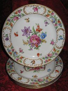 4 Schumann Royal Bavarian Dresdner Art Porcelain Dresden Flowers Luncheon Plates | eBay