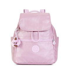 Ellaria Metallic Small Drawstring Backpack - Metallic Pink Plum | Kipling