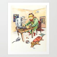 Hero and his Superdog Stationery Cards by kokoris Superhero Party, Fine Art Prints, Stationery, Gallery, Parties, Artwork, Cards, Fictional Characters, Illustrations