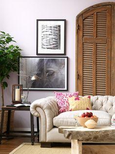 """Horse Head"" by Steve Horan; ivory tufted sofa by Montauk: http://montauksofa.com/"