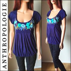 SAlE! ANTHROPOLOGIE Blue Ric Rac Top In good preowned condition. A little bit of piling. Sale price is FIRM and non-negotiable. Sale ends soon and prices will go back up. Anthropologie Tops