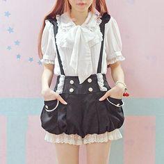 Kawaii Suspender Bloomer Shorts & Blouse! Sweet innocent school girl look. Puffy bloomer jumper with matching frilly white top. So kawaii! 100% FREE Shipping Worldwide. No Taxes. No Shipping Fees. NADA! Tons more Kawaii, Lolita, Harajuku, Fairy-Kei, Larme, Pastel-Goth, Cosplay, Magical Girl, and Japan Fashion Goodies at www.KawaiiBabe.com
