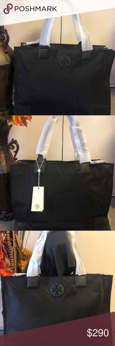 a07c08f5cdbf (NEW) Ella Packable Tote New with tags Authentic Approx. 15 x x 12 inches  Lined interior Double handle Gold hardware Partial zip top closure Tory  Burch Bags ...