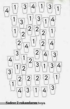 A Family& Preschool Teacher& Diary: Find the Number and Paint .- Okul Öncesi Öğretmeni Bir Ailenin Günlüğü: Rakamı Bulup Boyama A Family& Diary: Preschool Teacher Finding and Coloring the Number - Preschool Weather, Preschool Colors, Preschool Centers, Numbers Preschool, Learning Numbers, Preschool Math, Preschool Worksheets, In Kindergarten, Math Activities