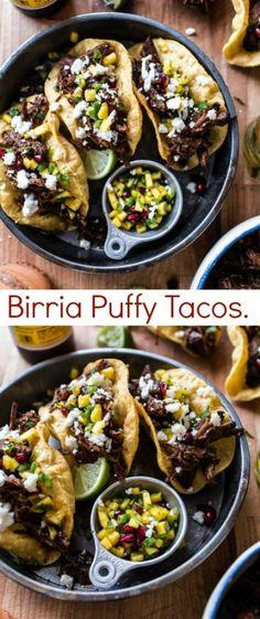 Birria Puffy Tacos | halfbakedharvest.com @hbharvest Burritos, Tostadas, Nachos, Enchiladas, Puffy Tacos, Flautas, Cooking Recipes, Healthy Recipes, Healthy Food