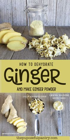 How to dehydrate ginger and make ginger powder. Don't buy another bottle of ginger powder, EVER! It is easy to dehydrate ginger and make ginger powder at home that tastes so much better than storebought! Dehydrated Vegetables, Dehydrated Food, Veggies, Homemade Spices, Homemade Seasonings, Do It Yourself Food, Dehydrator Recipes, Canning Recipes, Smoker Recipes