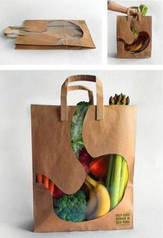 This is truly insightful shopping bag design because what we shop in the grocery store is actually what we eat. Smart!