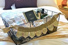 "guest room welcome basket (with free printable ""welcome"" banner)."